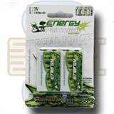 Batteri, 9 Volt, Alkalisk - Energy Paintball, 2 pakk